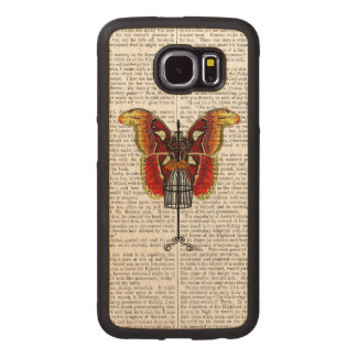 Mannequin Red And Yellow Butterfly Wood Phone Case