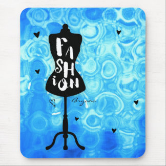 Mannequin Stand Vintage Retro Blue FASHION Glam Mouse Pad