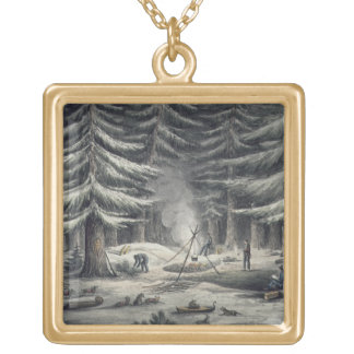 Manner of Making a Resting Place on a Winter Night Gold Plated Necklace