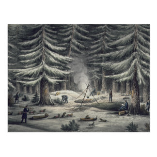 Manner of Making a Resting Place on a Winter Night Postcard