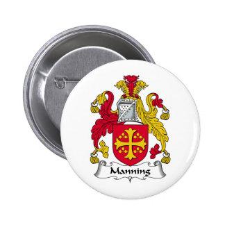 Manning Family Crest 6 Cm Round Badge
