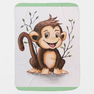 Manny the Monkey Receiving Blankets