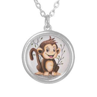 Manny the Monkey Round Pendant Necklace