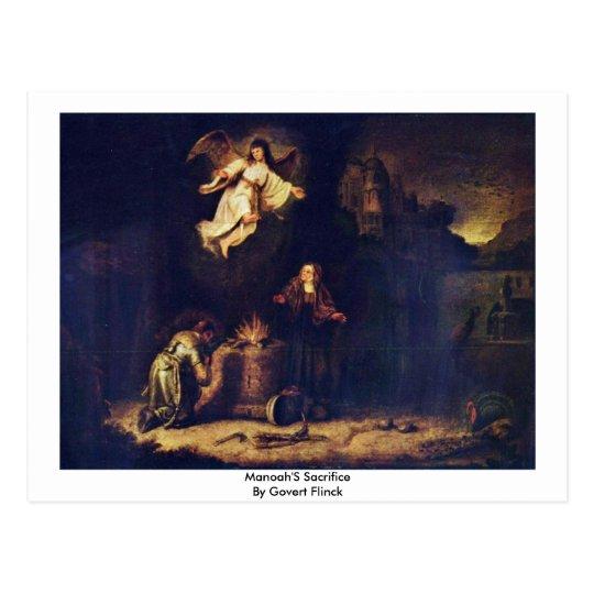 Manoah'S Sacrifice By Govert Flinck Postcard