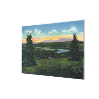 Manor Hill Overlooking Rangeley Village Scene Canvas Print