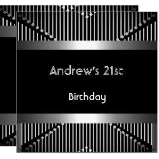 Man's 21st Birthday Party Silver Black Metal Jewel Card