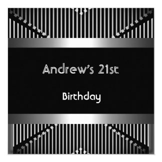 Man's 21st Birthday Party Silver Black Metal Jewel Card
