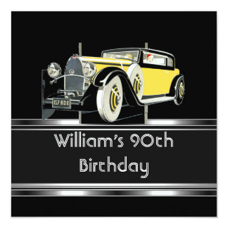 "Mans 90th Birthday Party Black Vintage Car 5.25"" Square Invitation Card"