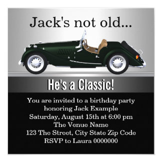 Mans Antique Car Birthday Party Card