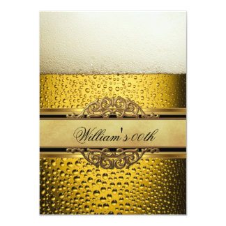 Mans Beer Black Gold Birthday Party All Ages 4.5x6.25 Paper Invitation Card