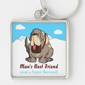 Man's Best Friend Silver-Colored Square Key Ring