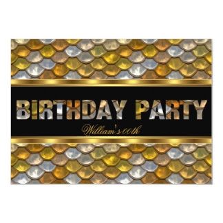 """Mans Black Gold Birthday Party All Ages 4.5"""" X 6.25"""" Invitation Card"""