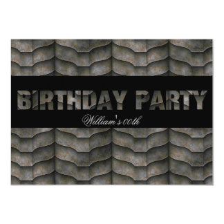 Mans Black Metal Look Birthday Party All Ages 4.5x6.25 Paper Invitation Card