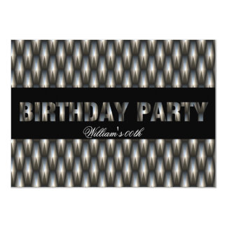 Mans Black Silver Birthday Party All Ages 4.5x6.25 Paper Invitation Card