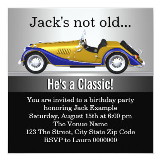 Mans Classic Car Birthday Party 13 Cm X 13 Cm Square Invitation Card