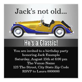 Mans Classic Car Birthday Party 13 Cm X 13 Cm Square Invitation Card