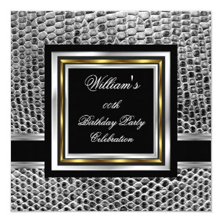 Mans Elegant Black Gold Silver Birthday Party Mens 13 Cm X 13 Cm Square Invitation Card