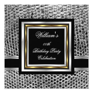 Mans Elegant Black Gold Silver Birthday Party Mens 13 Cm X 13 Cm Square Invitation Card