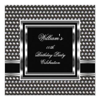 Mans Elegant Black Silver Birthday Party Mens 13 Cm X 13 Cm Square Invitation Card