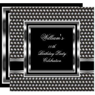 Mans Elegant Black Silver Birthday Party Mens Card
