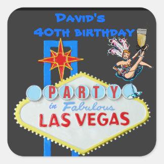 Man's Las Vegas Party Square Sticker