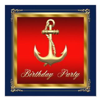"Mans Nautical Birthday Party 5.25"" Square Invitation Card"
