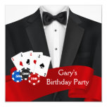 Mans Poker Birthday Party Announcements