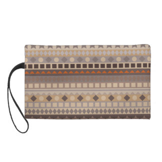 Man's Tribal Aztec Stripes Brown and Beige Pattern Wristlet Purse