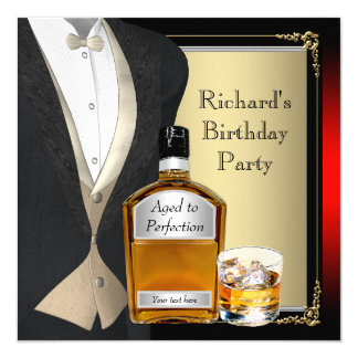 Mans Whiskey Birthday Party 13 Cm X 13 Cm Square Invitation Card