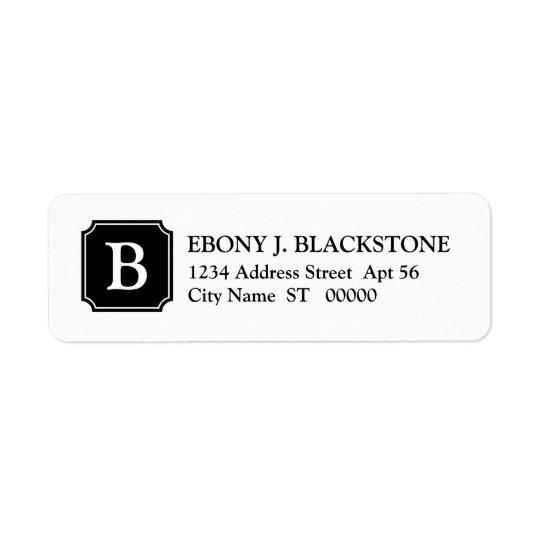 Mansard Plaque Initial Return Address Label, Black Return Address Label