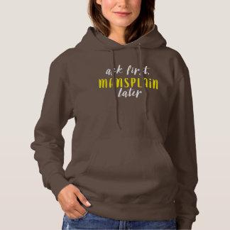 Mansplain Later Hoodie (chocolate/white/yellow)