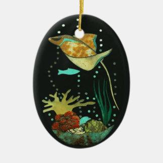 Manta Ray Ceramic Oval Decoration