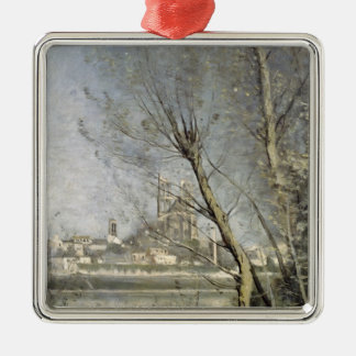 Mantes, View of the Cathedral and Town Christmas Ornament