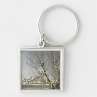 Mantes, View of the Cathedral and Town Silver-Colored Square Key Ring