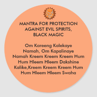 MANTRA FOR PROTECTION AGAINST EVIL SPIRITS BLACK STICKERS