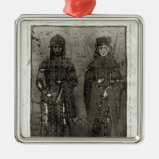 Manuel I Comnenus  and Empress Maria of Antioch Silver-Colored Square Decoration