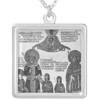 Manuel Palaeologus protected by Virgin Mary Silver Plated Necklace