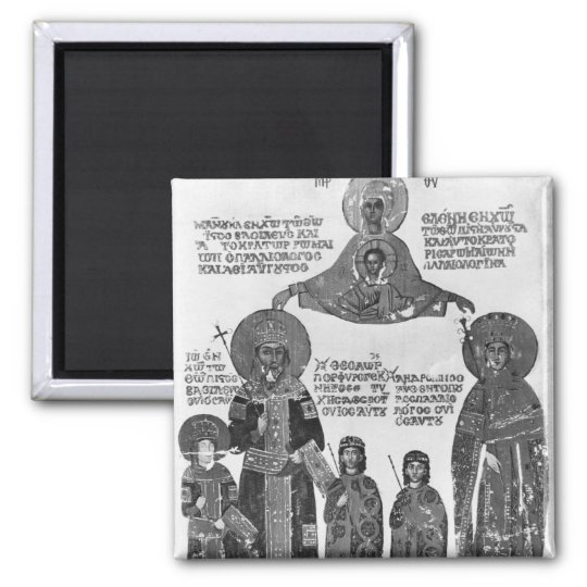 Manuel Palaeologus protected by Virgin Mary Square Magnet