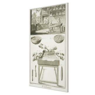 Manufacture of bottle corks, from the 'Encyclopedi Canvas Print