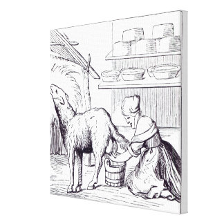 Manufacture of cheeses in Switzerland, after a woo Canvas Print