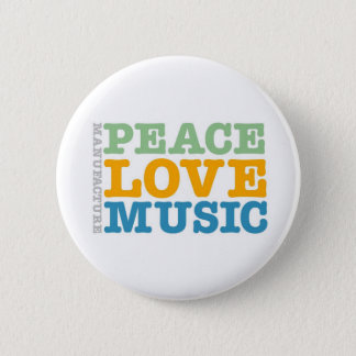 Manufacture Peace, Love, and Music 6 Cm Round Badge
