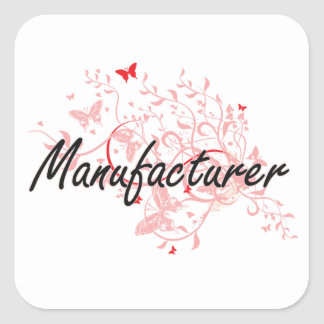 Manufacturer Artistic Job Design with Butterflies Square Sticker