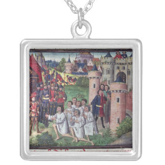 Manuscript by Jean Vauquelin Silver Plated Necklace