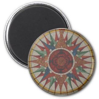Manuscript Compass Rose 6 Cm Round Magnet