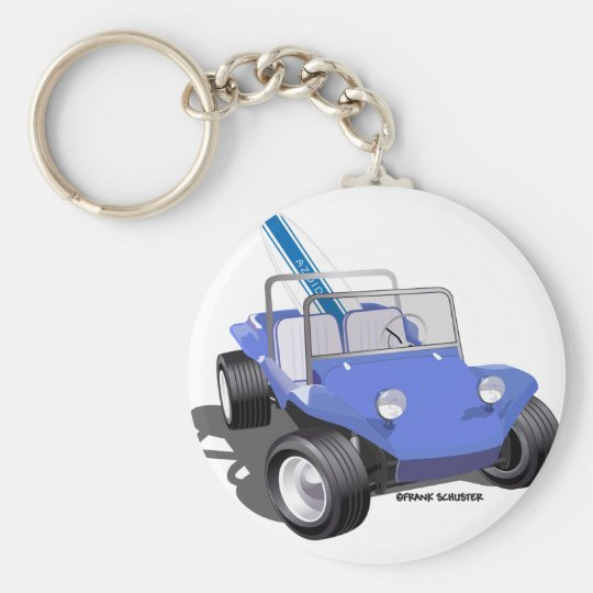 Manx Blue with Surfboard Basic Round Button Key Ring