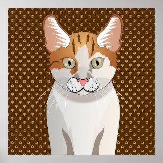 Manx Cat Cartoon Paws Print