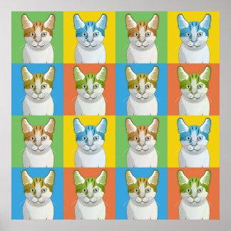 Manx Cat Cartoon Pop-Art Poster