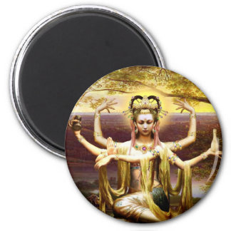 Many Armed Kwan Yin 6 Cm Round Magnet