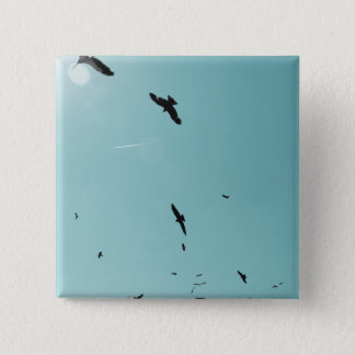 Many birds and a contrail 15 cm square badge
