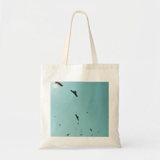Many birds and a contrail tote bag